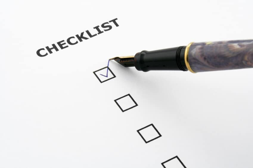 Checklist boxes with check mark