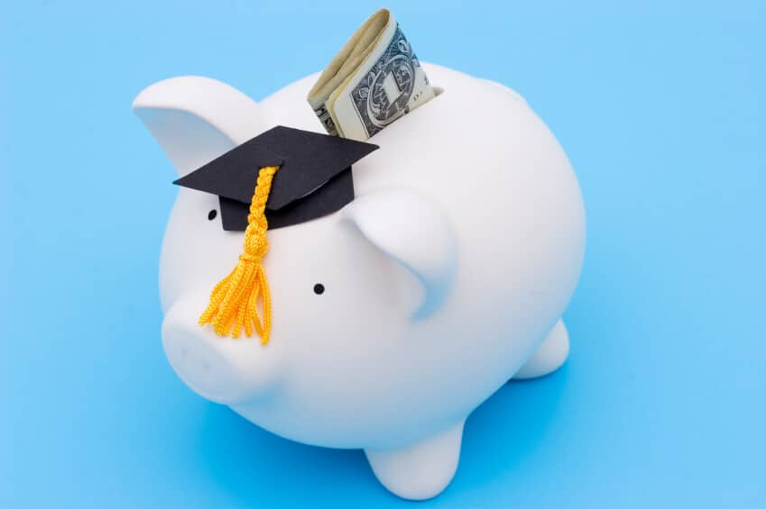 Piggy bank with graduation cap and money