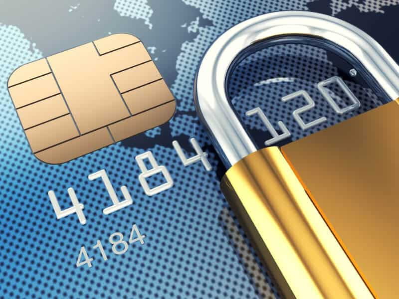 close up credit card with lock
