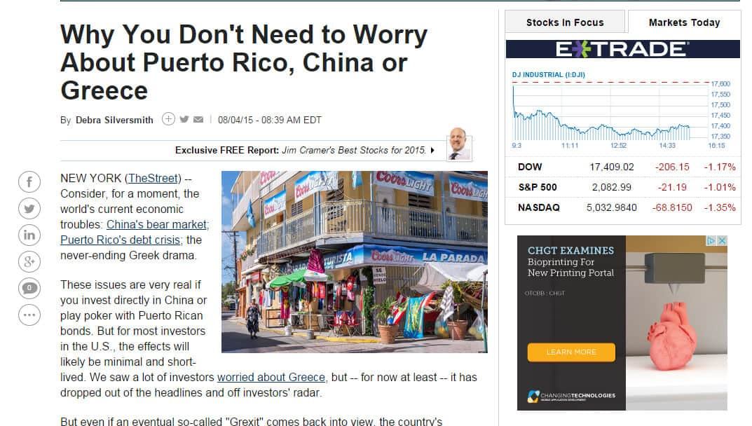 Screenshot of article: Why you don't need to worry about Puerto Rico