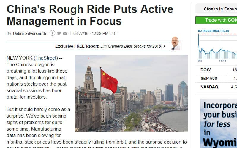 Screenshot of article titled: China's rough ride puts active management in focus