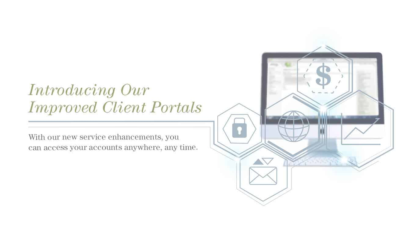 Banner image announcing updates to First Western's client portals
