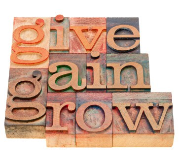 blocks that spell out give, gain, grow