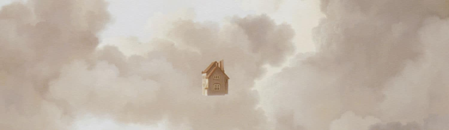 painting of house floating in the clouds