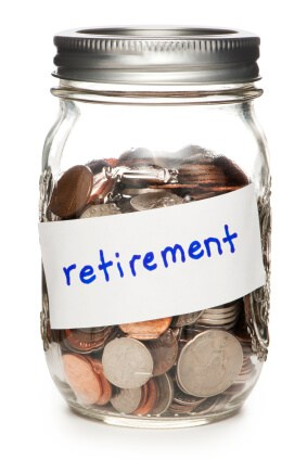 "jar of coins with ""retirement"" written across it"