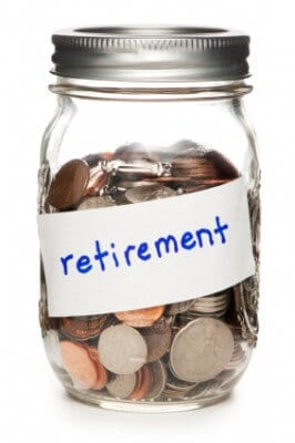 Image of coin jar that reads retirement