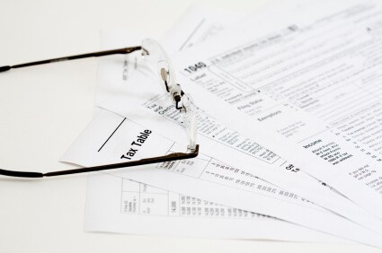 Tax forms on table