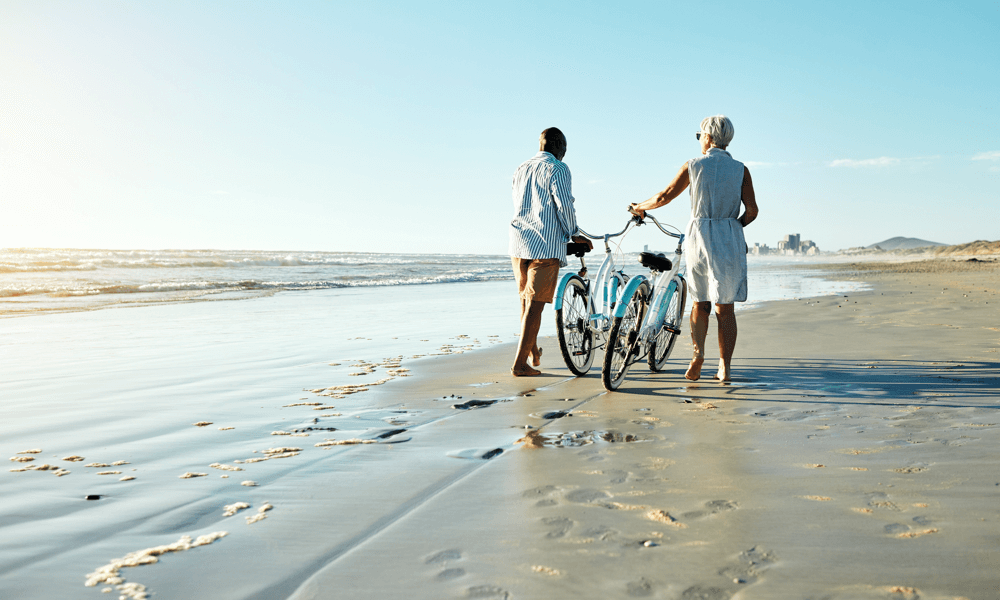 Couple watching on beaches with bikes